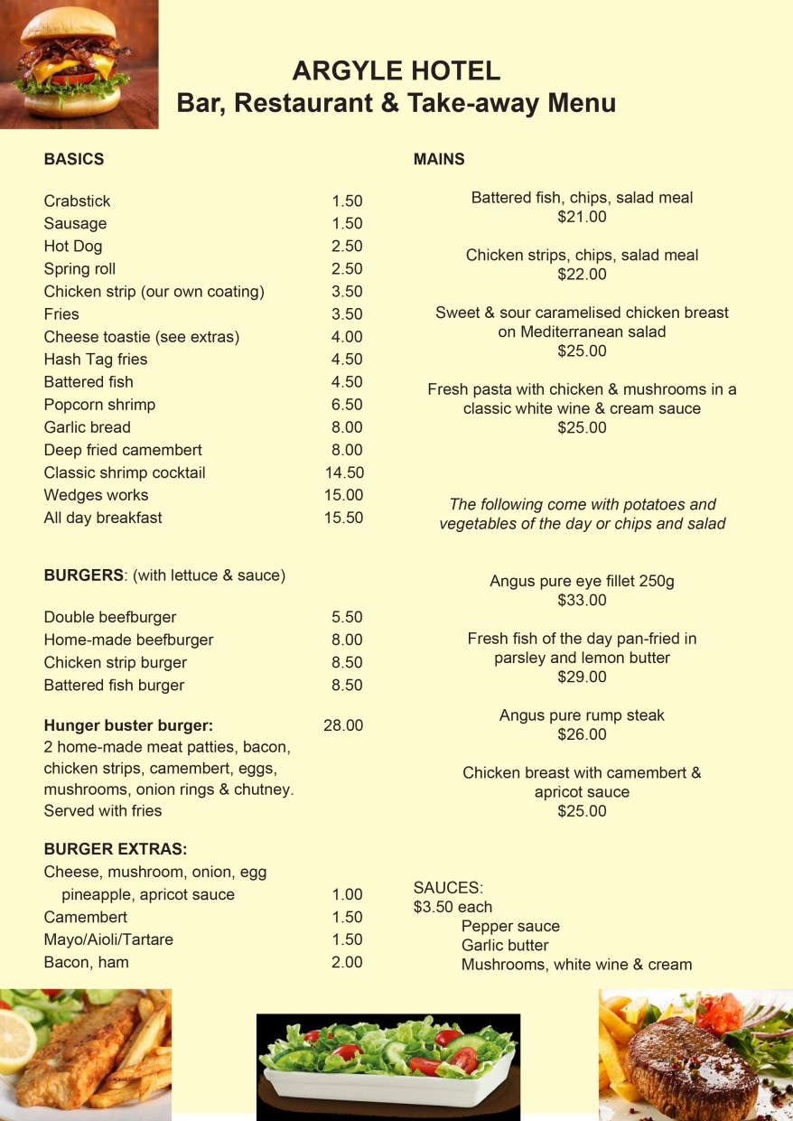 Menu argyle hotel for Fresh fish company menu